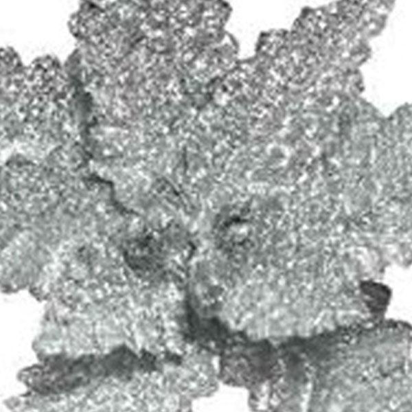 Silver Glitter Finish Fabric Poinsettia On Clip - 32cm
