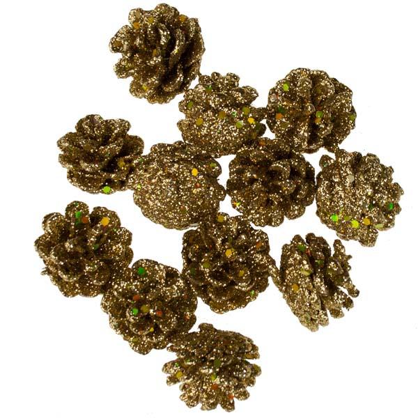 Gold Sparkle Pine Cones - 4cm X 12