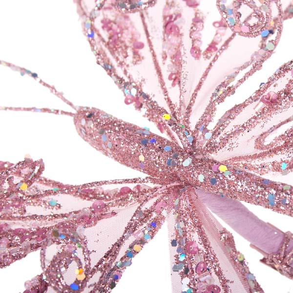 Pink Fabric & Glitter Two Tone Butterfly On Clip - 18cm