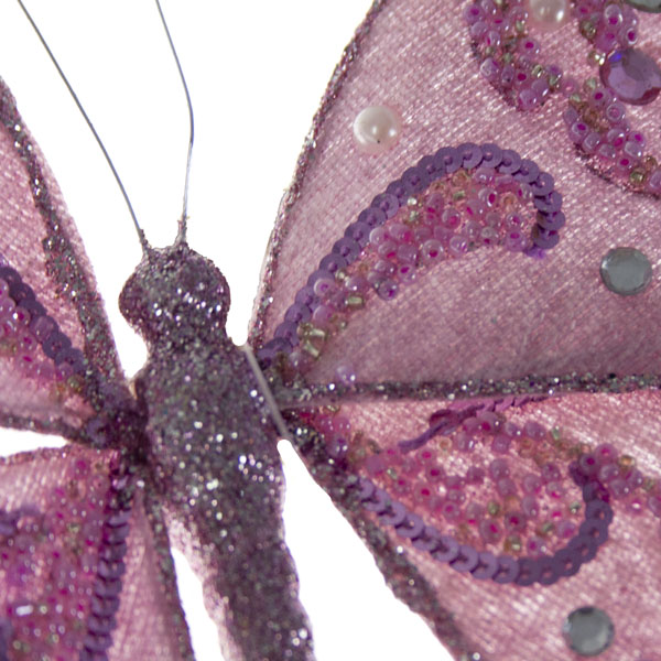 Pale Heather Purple Glittered Butterfly Clip - 20cm x 15cm
