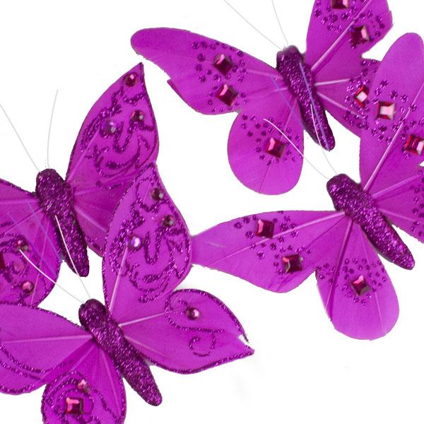 Magenta Pink Feather Butterflies - 4 x 10cm