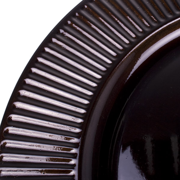 Embossed Bevelled Rim Dark Brown Round Charger Plate - 33cm Diameter (230-14346-BR)