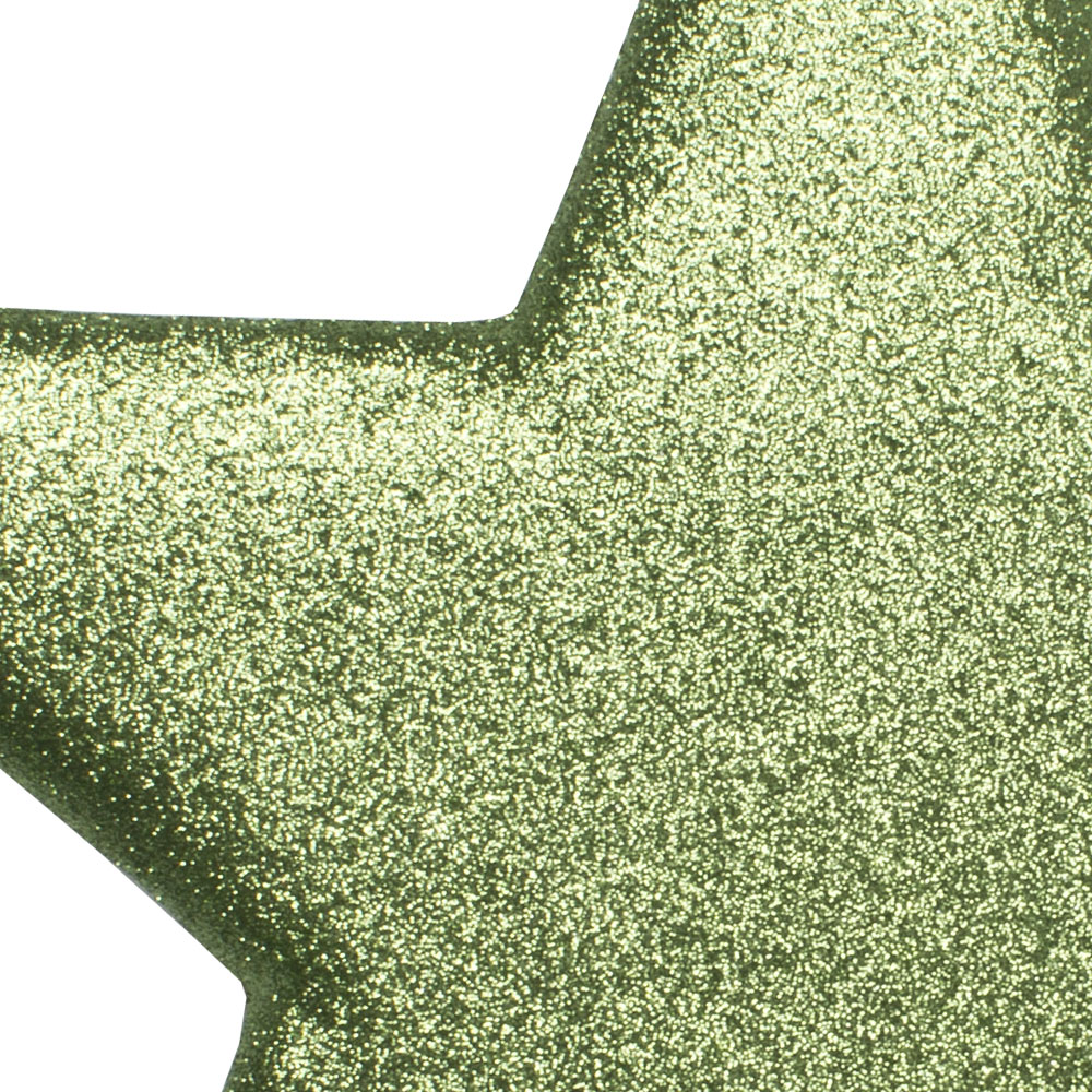 25cm Glitter Display Star Hanger - Cedar Green