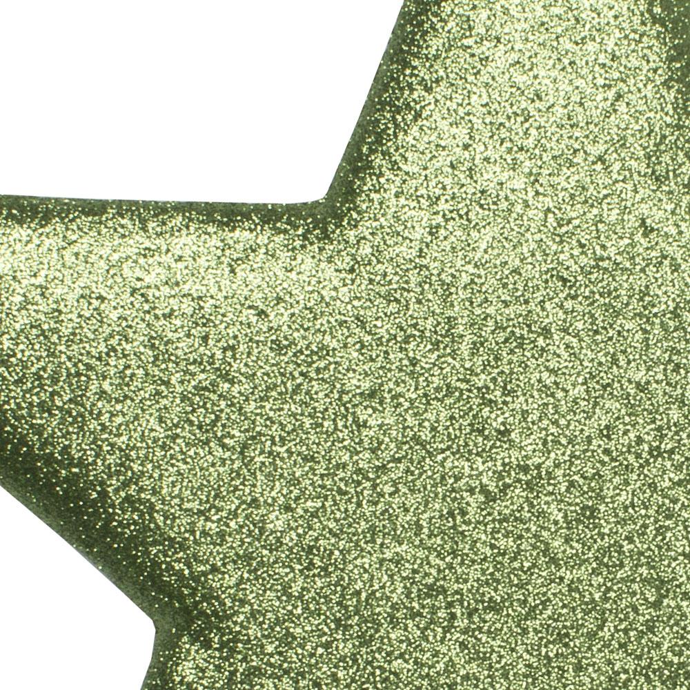 40cm Glitter Display Star Hanger - Cedar Green