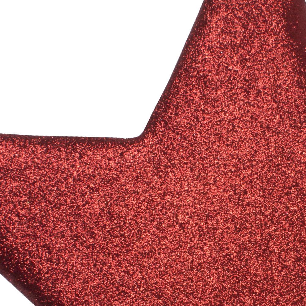 25cm Glitter Display Star Hanger - Red