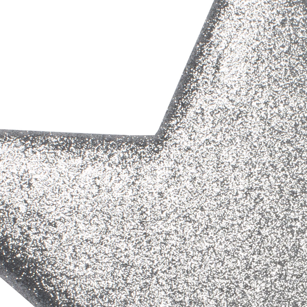 25cm Glitter Display Star Hanger - Silver
