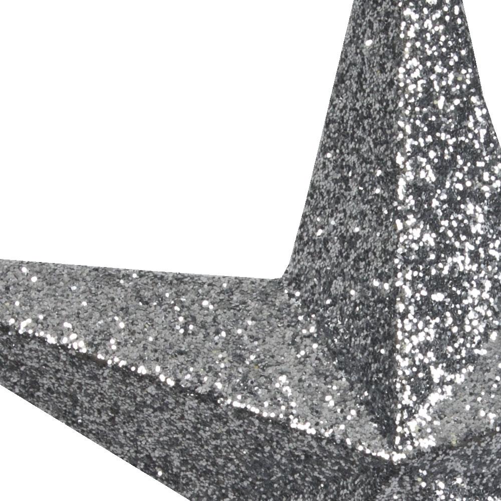 5 Point Silver Glitter Star - 20cm