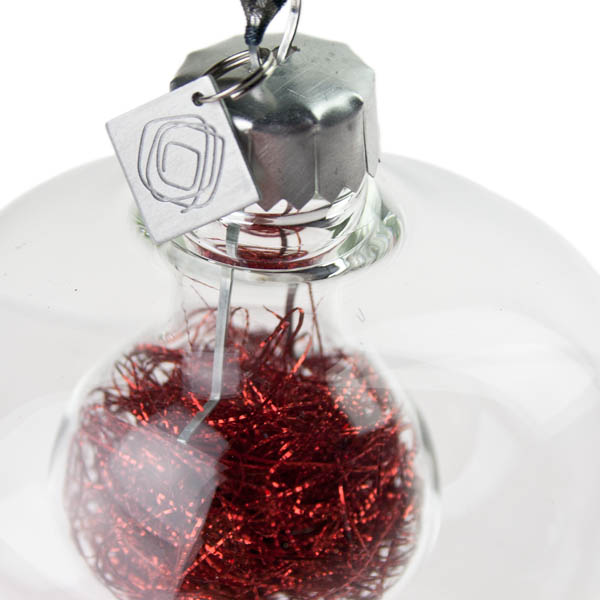 Squared Rose Plain Clear Glass Double Wall Onion Bauble - Red Angel Hair - 70mm