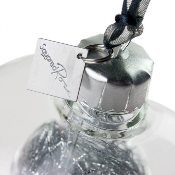 Squared Rose Plain Clear Glass Double Wall Onion Bauble - Silver Angel Hair - 70mm