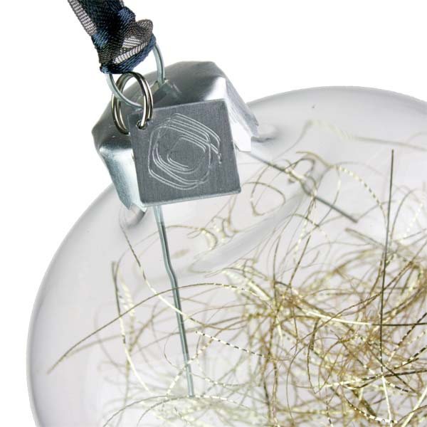 Squared Rose Hand Blown Glass Bauble - Gold Angel Hair - 70mm