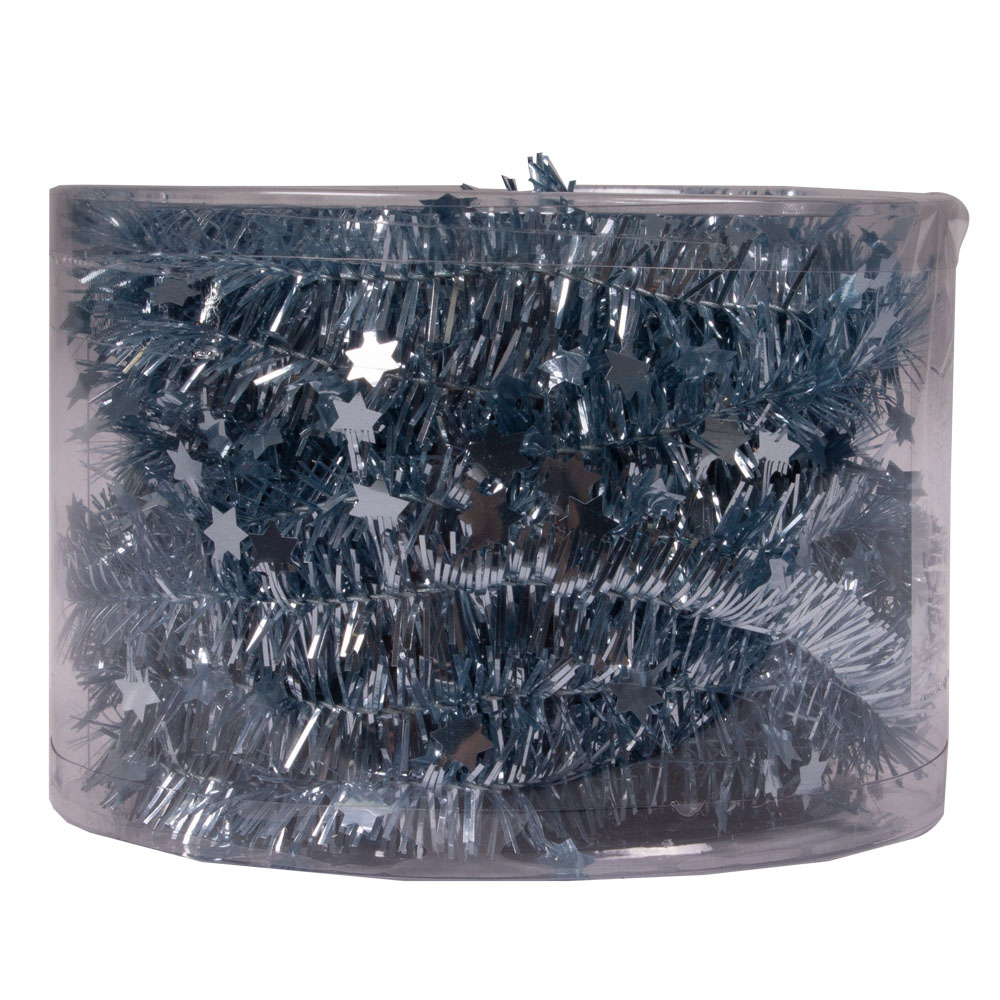 Ice Blue Tinsel Star Garland In Acetate Tub - 7m x 35mm