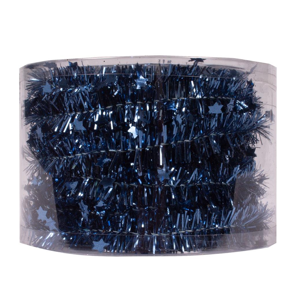 Night Blue Tinsel Star Garland In Acetate Tub - 7m x 35mm
