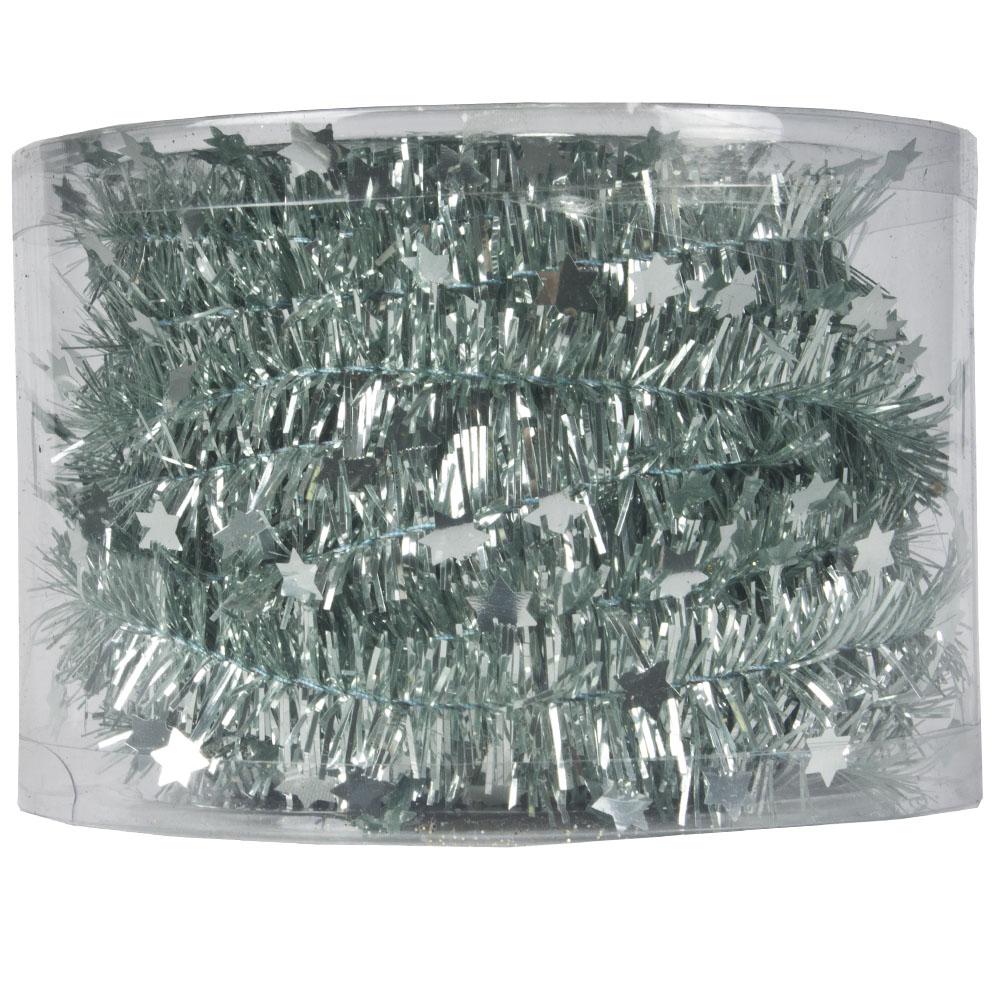 Pale Sage Green Tinsel Star Garland In Acetate Tub - 7m x 35mm