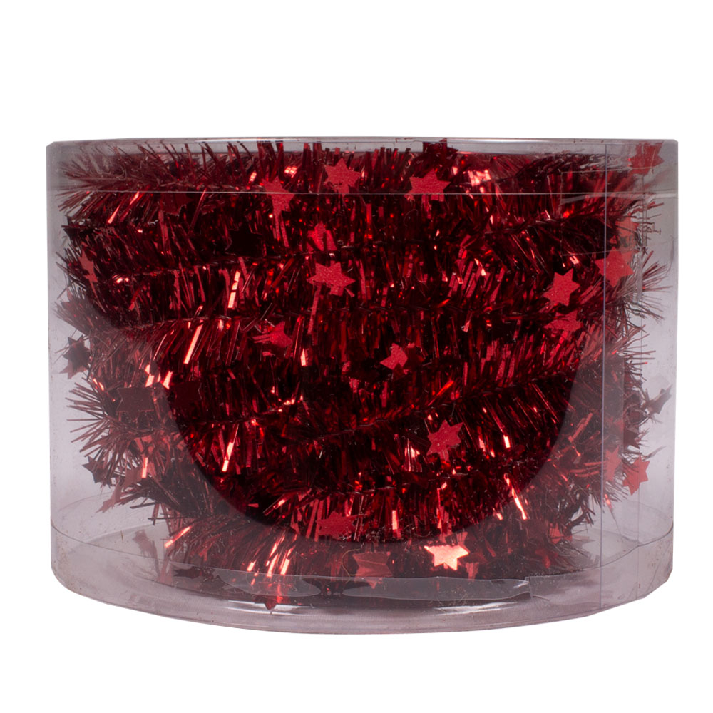 Christmas Red Tinsel Star Garland In Acetate Tub - 7m x 35mm