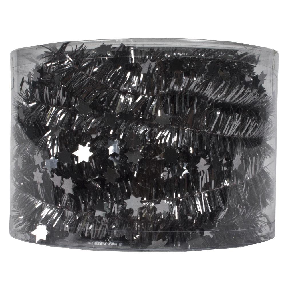 Stone Grey Tinsel Star Garland In Acetate Tub - 7m x 35mm