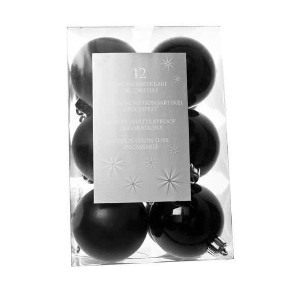 Black Baubles - Shatterproof - Pack of 12 x 60mm