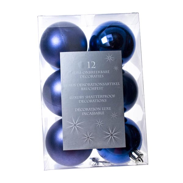 Cobalt Blue Baubles - Shatterproof - Pack of 12 x 60mm