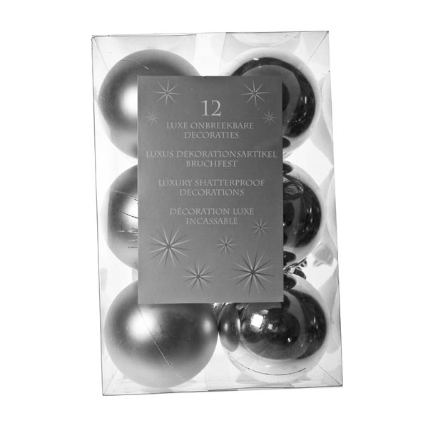 Silver Baubles - Shatterproof - Pack of 12 x 60mm