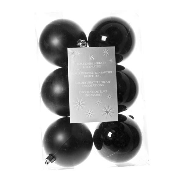 Black Baubles - Shatterproof - Pack of 6 x 80mm