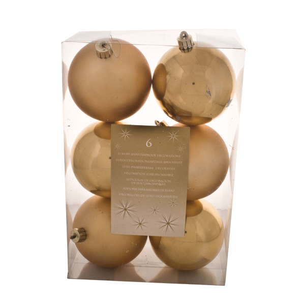 Gold Baubles - Shatterproof - Pack of 6 x 80mm