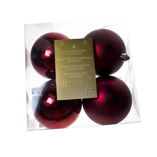 Dark Red Baubles - Shatterproof - Pack of 4 x 100mm