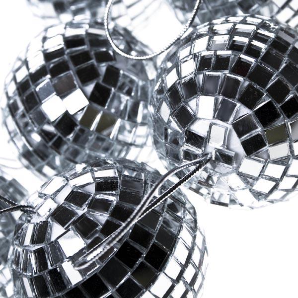 Shatterproof Silver Mirror Baubles - 6 X 60mm