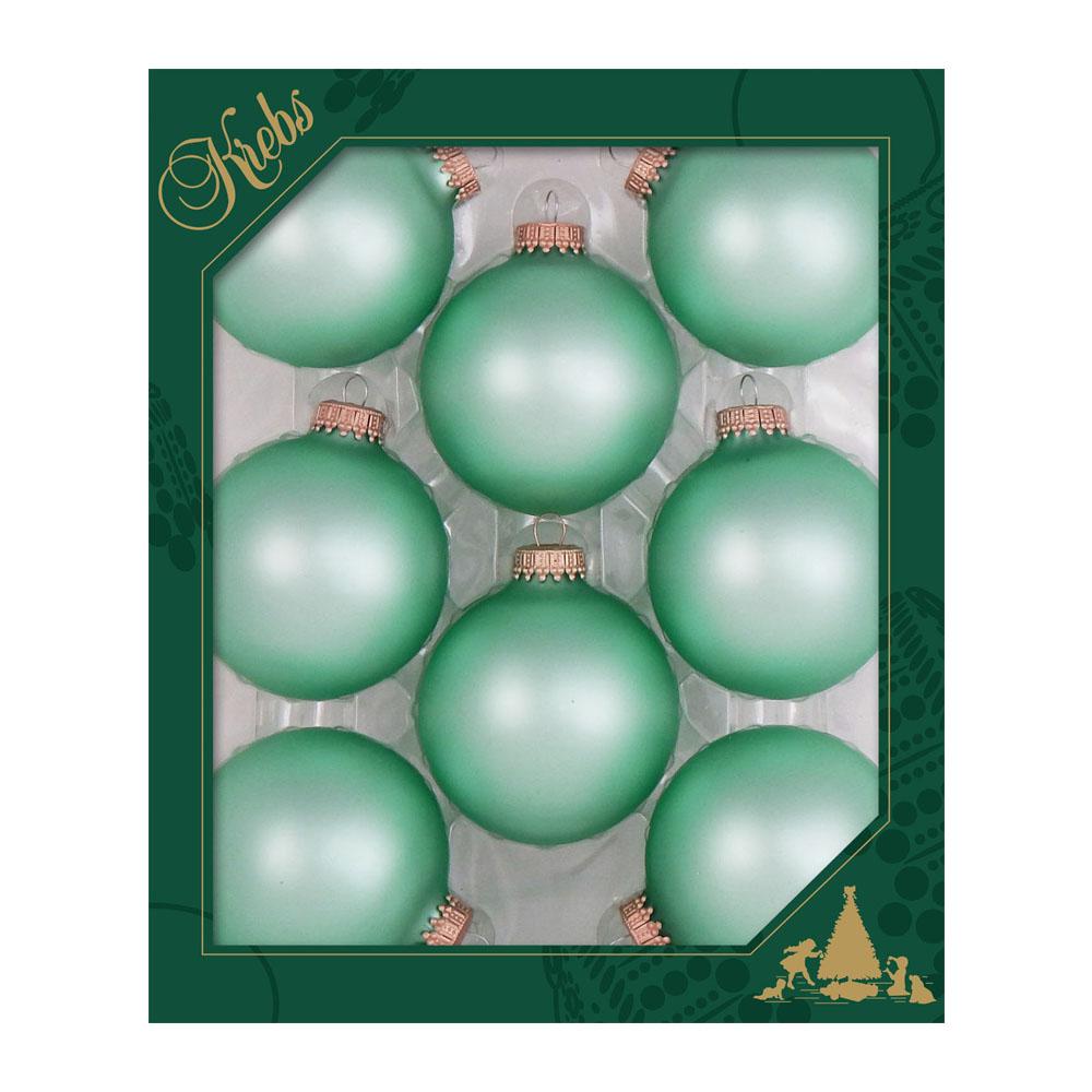 Krebs Pale Aqua Velvet Glass Baubles - 8 x 67mm