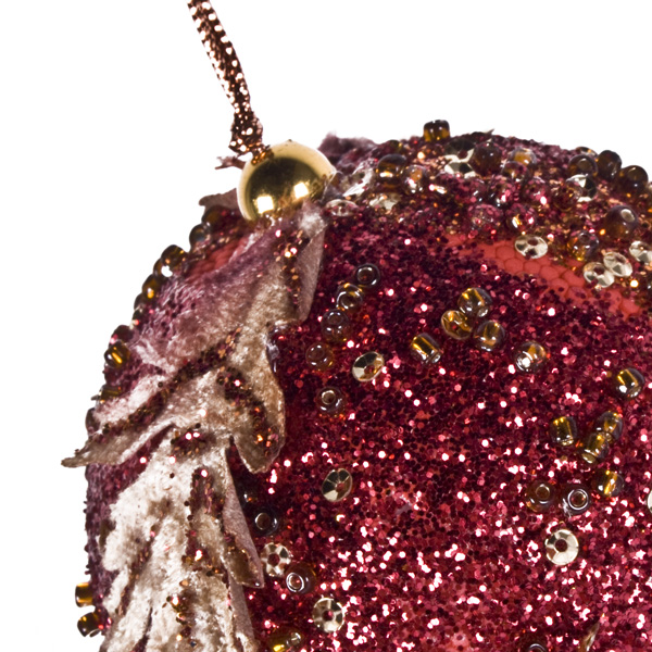 Copper/Gold/Burgundy Red Beaded Bauble - 80mm