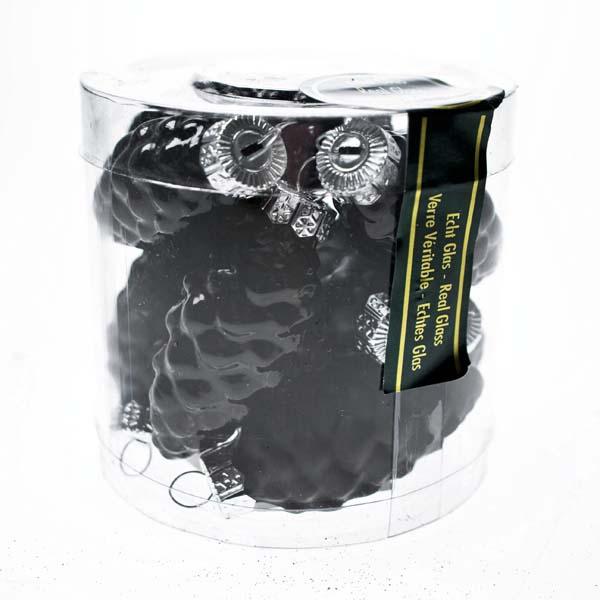 Black Glass Pine Cones - 12 x 60mm