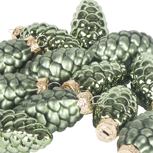 Dark Green Glass Pine Cones - 12 x 60mm