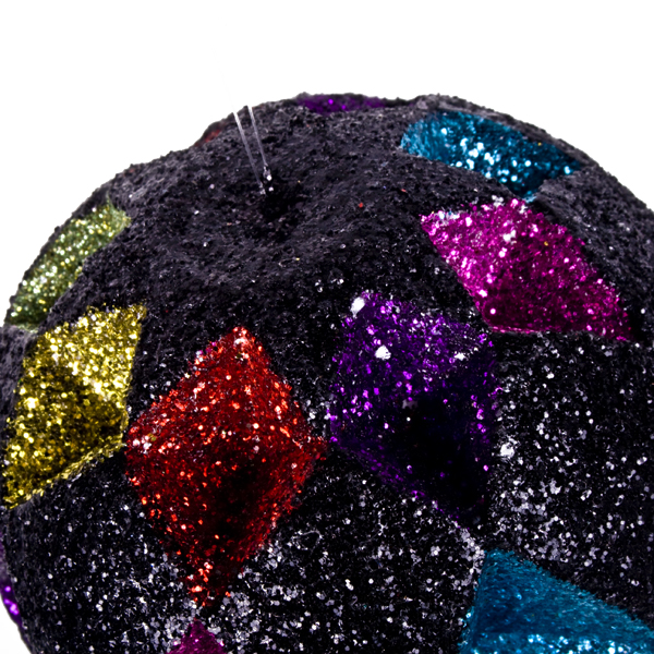 Black & Multicoloured Diamond Cut Glitter Bauble - 10cm