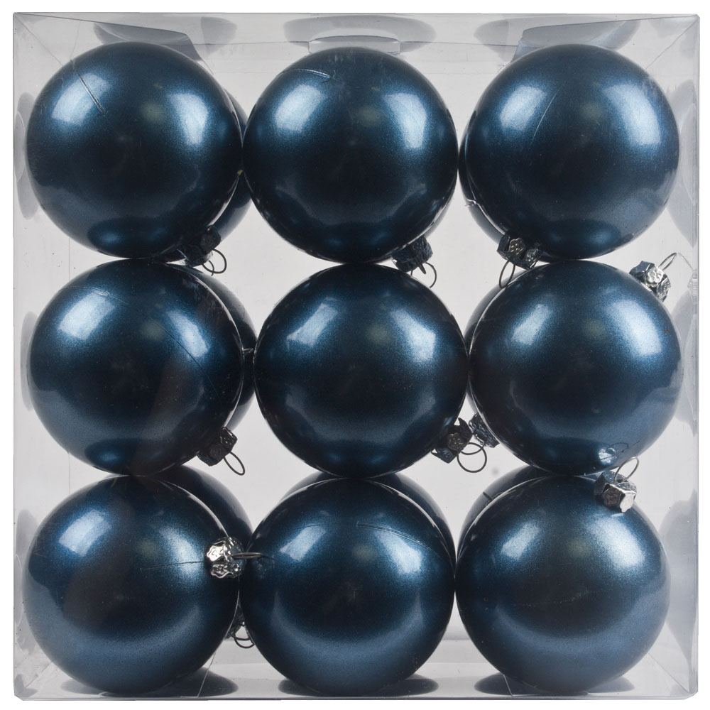 Pearl Blue Baubles Shiny Shatterproof - Pack Of 18 x 60mm