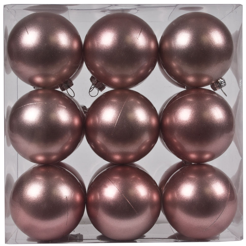 Pearl Pink Baubles Shiny Shatterproof - Pack Of 18 x 60mm