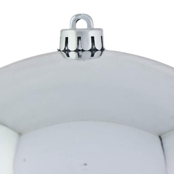 Silver Baubles Shiny Shatterproof - Single 250mm