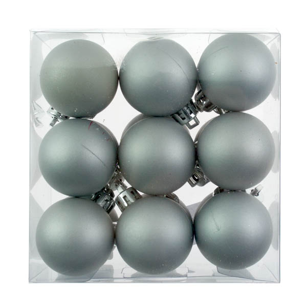 Silver Shatterproof Baubles  - Pack of 18 x 40mm Matt