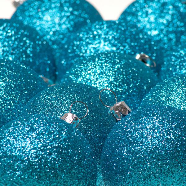 Xmas Baubles - Pack of 18 x 60mm Aqua Turquoise Glitter Shatterproof (021-14913-060-AQ)