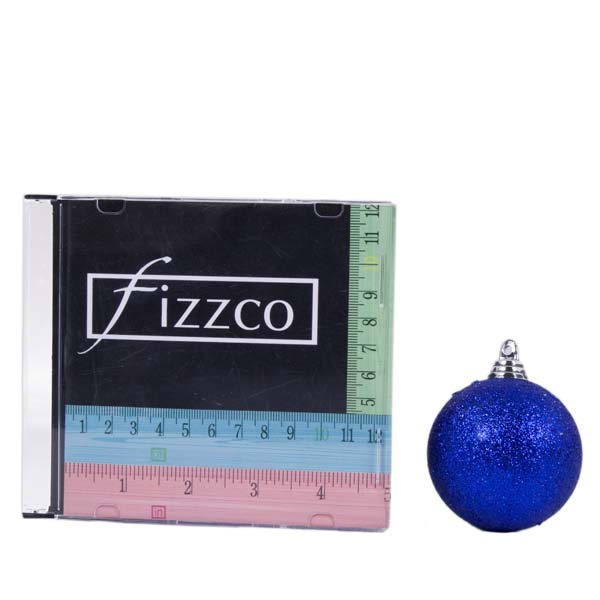 Xmas Baubles - Pack of 18 x 60mm Blue Glitter Shatterproof (021-14913-060-BL)