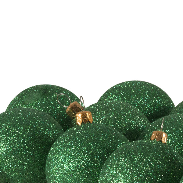 Xmas Baubles - Pack of 18 x 60mm Emerald Green Glitter Shatterproof
