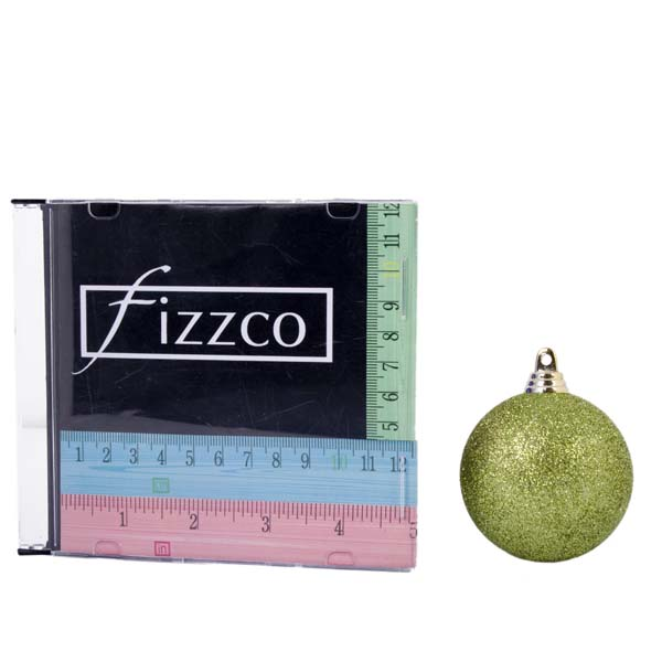 Xmas Baubles - Pack of 18 x 60mm Lime Green Glitter Shatterproof (021-14913-060-LG)