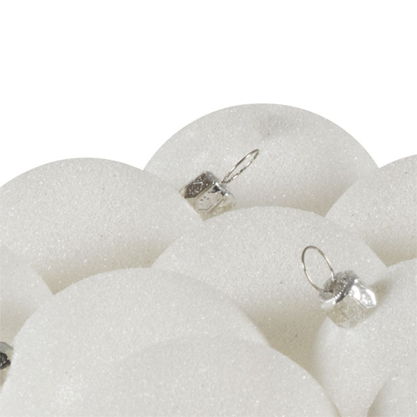 Xmas Baubles - Pack of 18 x 60mm White Glitter Shatterproof
