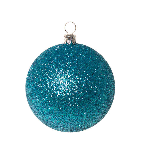 Xmas Baubles - Pack of 6 x 80mm Aqua Turquoise Glitter Shatterproof