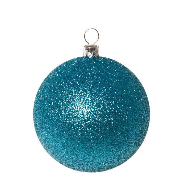 Xmas Baubles - Pack of 6 x 80mm Aqua Turquoise Glitter Shatterproof (021-14913-080-AQ)