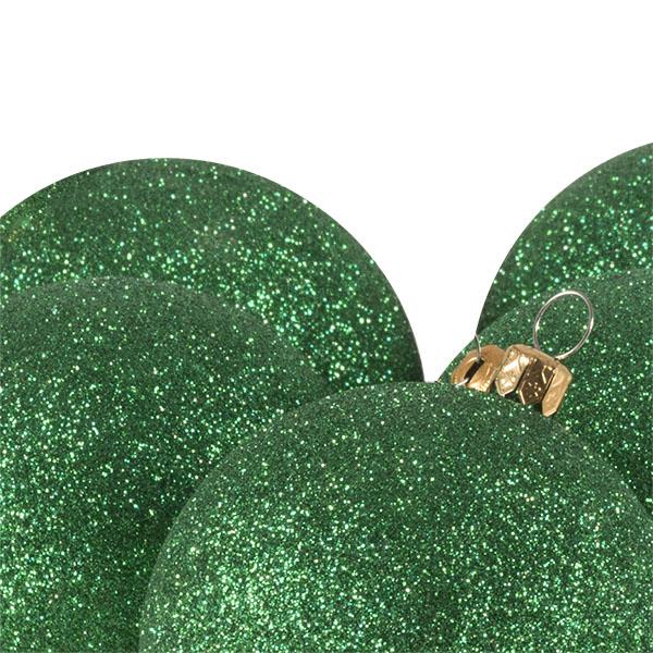 Xmas Baubles - Pack of 6 x 80mm Emerald Green Glitter Shatterproof