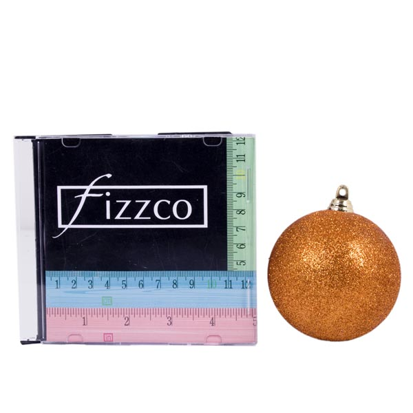 Xmas Baubles - Pack of 6 x 80mm Copper Orange Glitter Shatterproof (021-14913-080-OR)