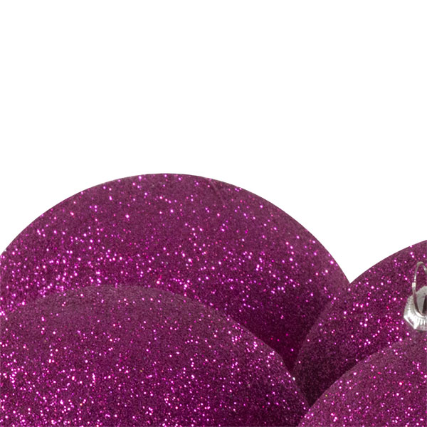 Xmas Baubles - Pack of 6 x 80mm Cerise Pink Glitter Shatterproof