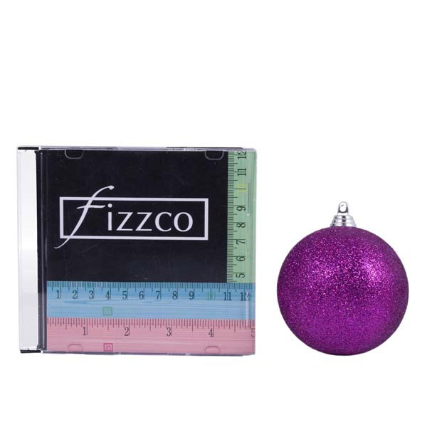 Xmas Baubles - Pack of 6 x 80mm Purple Glitter Shatterproof (021-14913-080-PU)