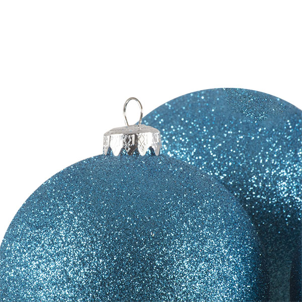 Xmas Baubles - Pack of 4 x 100mm Aqua Turquoise Glitter Shatterproof