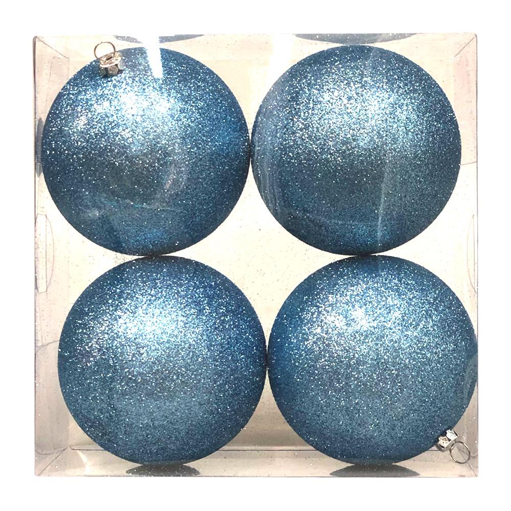 Xmas Baubles - Pack of 4 x 100mm Gentle Blue Glitter Shatterproof