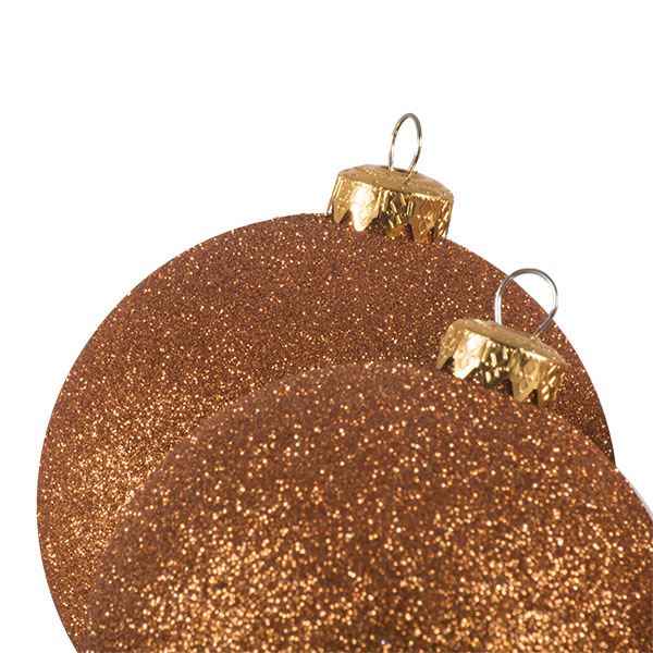 Xmas Baubles - Pack of 4 x 100mm Copper Orange Glitter Shatterproof