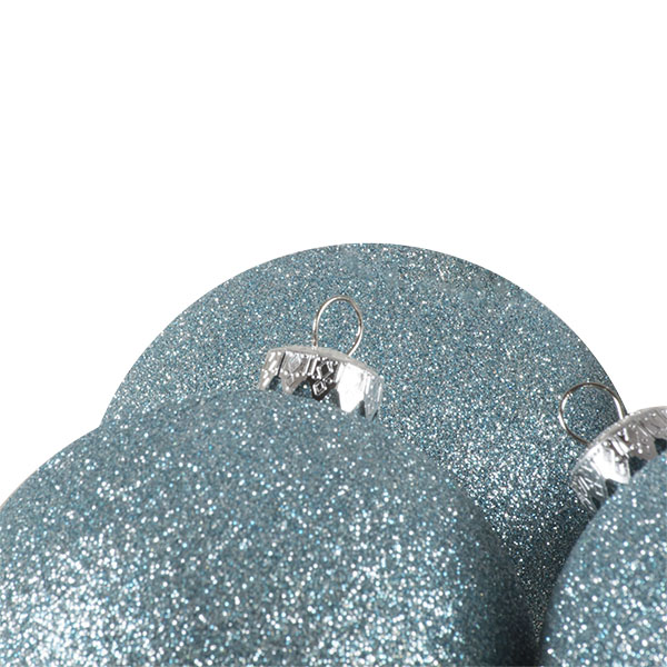 Xmas Baubles - Pack of 4 x 100mm Pale Turquoise Glitter Shatterproof